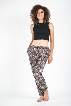 Paisley Women's Slim Cut Harem Pants in Black