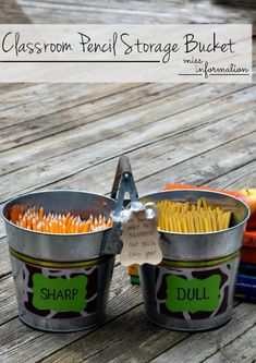 Make this cute sharp/dull pencil bucket for a great Back To School Teacher Gift