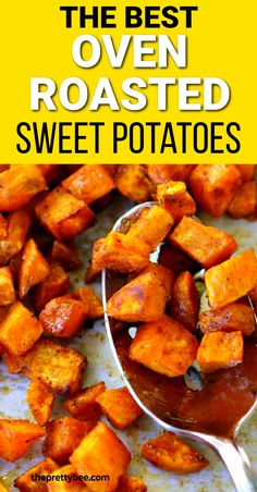 These are crispy, delicious, and full of flavor! Serve these oven roasted sweet potatoes with chicken, pork, or use as a filling for tacos or burritos. So good! Paleo Side Dishes, Veggie Side Dishes, Potato Dishes, Vegetable Sides, Side Dish Recipes, Vegetable Recipes, Gluten Free Sauces, Allergy Free Recipes, Oven Roasted Sweet Potatoes