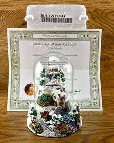Christmas Bridge Cottage Violet Schwenig Franklin Mint Hand Painted ornament Hand Painted Ornaments, Franklin Mint, Snow Globes, Original Paintings, Bridge, Cottage, Artwork, Shop, Christmas