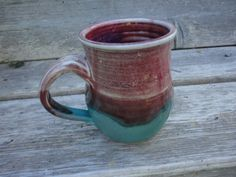 Pottery mug in Raspberry Red and turquoise by NancyBloklandPottery, $20.00