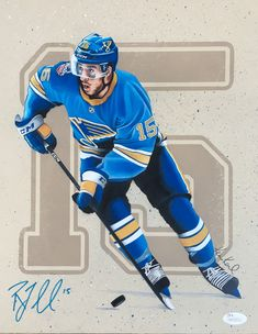 Commissioned portrait drawing by Ken Karl in colored pencil. Ken's art is the perfect family keepsake. Ken Karl's sport art is the perfect sport collectible. Sports Art, Colored Pencils, Pencil Drawings, Screen Printing, How To Draw Hands, Blues, Portrait, St Louis, Nhl