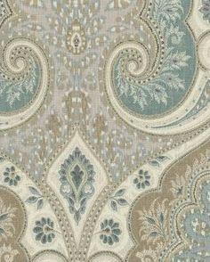 Latika in Seafoam by Kravet - ivory, aqua, beige & grey paisley fabric - $21/yd
