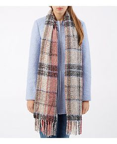 Pink Boucle Tartan Check Oversized Scarf  | New Look