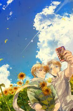 Hetalia RusAme, Sunflowers~