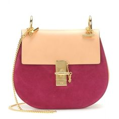 Chloé Drew Leather and Suede Shoulder Bag ($1,805) ❤ liked on Polyvore featuring bags, handbags, shoulder bags, bolsas, borse, pink, pink handbags, chloe purses, chloe handbags and chloe shoulder bag