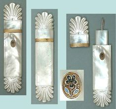 Antique Mother Of Pearl Palais Royal Needle Case w/ Enameled Pansy * Circa 1820 | eBay
