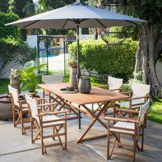 Belham Living Brighton Outdoor Patio Dining Set with Directors Chairs | Hayneedle