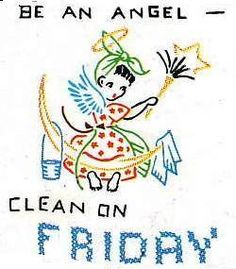 Hand Embroidery PATTERN 668 Days of the Week Angels for Towels 1950s