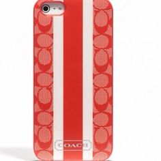 """Selling this """"BNWT COACH SIG STRIPE PVC STRIPE IPHONE 5 CASE"""" in my Poshmark closet! My username is: sherry8888. #shopmycloset #poshmark #fashion #shopping #style #forsale #Coach #Clutches & Wallets"""