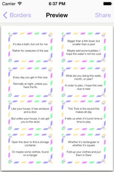 Easily create a rhyming scavenger hunt for kids! Print these out, cut them up, and hide in a plastic egg. They will love reading the clue and trying to figure out where the next one is hidden! Over 65 pre-made clues are included for various locations in your house. Some examples: Alarm Clock, Aquarium, Bookshelf, Clothes Basket, and more!