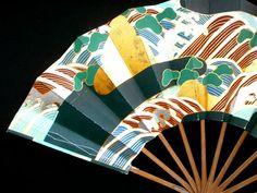Japanese Dance Fan Mai Ogi Pine Rock Wave Hand by VintageFromJapan, $22.00