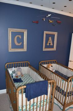 Project Nursery - Navy and Gold Twin Boys Nursery