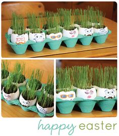 Try this also with a variety of seeds or a pinch of bird seed for a different look, then pla Grass hair.Try this also with a variety of seeds or a pinch of bird seed for a different look, then plant outside. Egg Crafts, Easter Crafts, Easter Ideas, Diy For Kids, Crafts For Kids, Easter Drawings, Egg Dye, Egg Decorating, Spring Crafts