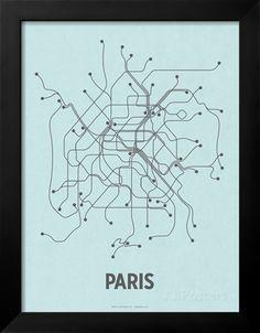 Paris (Light Blue & Dark Gray) Prints by Line Posters - AllPosters.ca