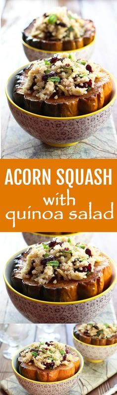 Roasted Acorn Squash Stuffed with Quinoa Salad - this healthy dish is very easy to make. It's delicious, nutritious, vegetarian, and gluten-free.