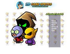 Monster Game Enemies Sprites Set by DionArtworks on 2d Character Animation, Monster Games, Walk Run, Shooting Games, Game Assets, Sprites, Enemies, Character Illustration, Game Character