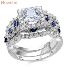 online shopping for Newshe Engagement Wedding Ring Set 925 Sterling Silver Princess White Cz Blue Size from top store. See new offer for Newshe Engagement Wedding Ring Set 925 Sterling Silver Princess White Cz Blue Size Engagement Wedding Ring Sets, Engagement Ring Settings, Wedding Ring Bands, Wedding Sets, Engagement Jewellery, Dream Wedding, Trendy Wedding, Sterling Silver Wedding Rings, Sterling Silver Jewelry