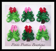 Boutique Hair Bow Christmas Tree Clip by petitepretties on Etsy