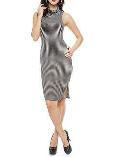 Rainbow Sleeveless Striped Bodycon Midi Dress With Cowl Neckline | Give simple a sexy twist in this comfy bodycon dress! This sleeveless dress features a soft lightweight material with striped print throughout, a sleek racer back and a cowl neckline. Dress this style up by pairing with a faux leather jacket and over-the-knee boots.