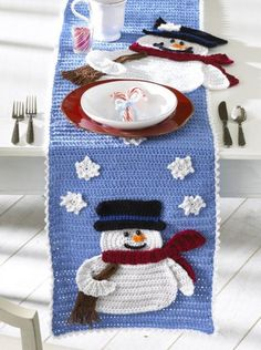 Picture of Frosty Fellows Table Runner Crochet Pattern