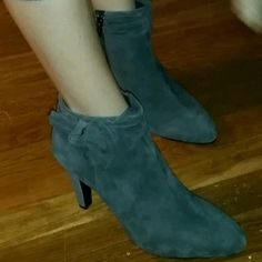 Dark grey suede booties Super cute. Brand new. Bow on side. Zip up. Bandolino Shoes Ankle Boots & Booties