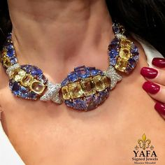 @yafasignedjewels. DavidWebb takes it to another level - again! Sapphire and diamond necklace