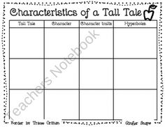 Tall Tale Chart from Ginger Snaps on TeachersNotebook.com (1 page)