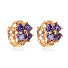 Yellow Gold Color Lucky Four Leaf Clover Heart Cut  Purple CZ Small Hoop Earrings For Girls Child Baby Kids Jewelry Aro