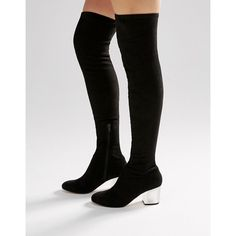 ASOS KENTUCKY Clear Heel Over The Knee Sock Boots (£52) ❤ liked on Polyvore featuring shoes, boots, black, black over the knee boots, over the knee boots, black zip boots, over knee boots and zip boots