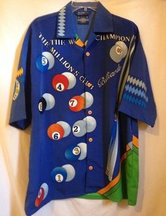 Mens Billiards Shirt M Blue Original Ice Collection Designed by NYDK Pool Hall #OriginalIceCollection #ButtonFront