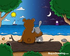 A bear   and bunny  by the ocean with a sweet story behind it. #bear #bunny #sun #moon #beach #log #sky #love #couple #gift #drawing #cartoonist #cartoon #illustration #illustrator #draw #buyadrawing #art #artwork #artist #caricature #caricatures #doodle #doodles #creative