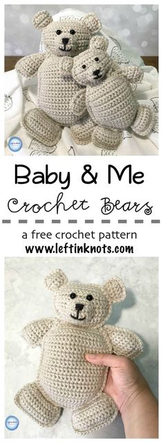 These free crochet pattern for rag doll teddy bears are an adorable gift for new baby and big brother/sister! Perfect for little hands to hug and snuggle, this free crochet pattern will give you instructions for both the large and small bear. #lionbrandy