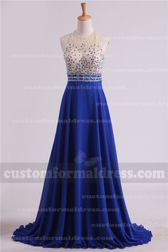 2017 Long Royal Blue Prom Dresses Halter Neck Beaded Top LOCT361