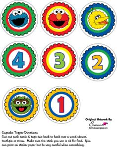 Cupcake Tops, Sesame Street, Party Decorations - Free Printable Ideas from Family Shoppingbag.com