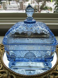 Tiara Glassware Price List | Tiara Exclusive Indiana Glass Blue Honey Bee Box/ Candy Dish Excellent ...