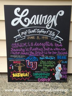 16 x 20 Custom HandPainted Birthday Board by AshleyEllisDesign