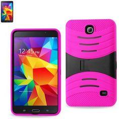 Reiko Silicon Case+Protector Cover Samsung Galaxy Tab 4 7.0 New Horizontal Kickstand Hot Pink Black