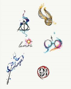 Aquarell Harry Potter Tattoos von Lady Pirates Tattoo Studio in Leigh-on-Sea, . - Aquarell Harry Potter Tattoos von Lady Pirates Tattoo Studio in Leigh-on-Sea, Essex - Arte Do Harry Potter, Harry Potter Quotes, Harry Potter Love, Harry Potter Fandom, Harry Potter World, Harry Potter Snitch, Harry Potter Symbols, Small Harry Potter Tattoos, Always Harry Potter Tattoo