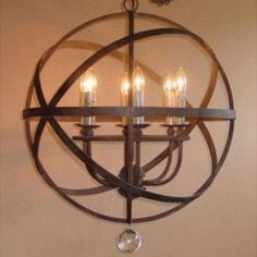 Armillary Iron Chandelier In Rustic Finish