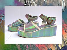 Vintage 90s Hologram Foam Sandals 6 6.5