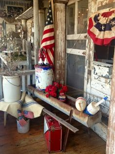 The Country Porch; of july wreath; of july decor; of july party ideas; of july decorations; of july ideas; of july crafts; of july recipes Fourth Of July Decor, 4th Of July Decorations, July 4th, Americana Decorations, Porch Decorating, Decorating Ideas, Decor Ideas, Old Glory, Country Decor