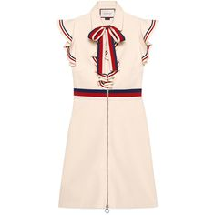 Gucci Sylvie Web Stretch Jersey Dress ($1,800) ❤ liked on Polyvore featuring dresses, stretch dresses, sleeved dresses, ruffle sleeve dress, stretch jersey and flounce dress