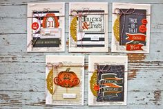 Today I'm sharing lots of Halloween cards created with items from the October Gossamer Blue Themed Add-on Kit . The kit is now sold out & . Halloween Goodies, Cute Halloween, Halloween Cards, Halloween Treats, Project Life, Gossamer Blue, Mish Mash, Little Monsters, Pretty Cards