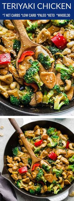This delicious Teriyaki Chicken is an easy stir fry recipe and takes only 20 minutes to make in one pan. It's made with tender chicken, broccoli, red pepper and a delicious homemade teriyaki sauce that's so much better for you than the authentic take-out restaurant. A low carb, paleo, keto-friendly & Whole30 compliant meal that's perfect for busy weeknights. Easy to make ahead on meal prep Sunday for school or work lunchboxes. #teriyakichicken #keto