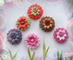 The price is for ONE flower  MADE TO ORDER - ANY COLORS, PIN FASTENER CAN BE ATTACHED - JUST ASK ME  Hand crocheted using multicolored Acrylic, Wool, Mohair yarn.  Flower measures approx 8,5 cm in diameter  I have left tails of the thread from the center on the reverse of the flower for sewing, so can be easily attached to your headband, hat, shawl, jumper, coat, blouse or bag.  More ideas: use them as your gift decoration, embellish pillowcases, blankets, put them on your kids clothes or…