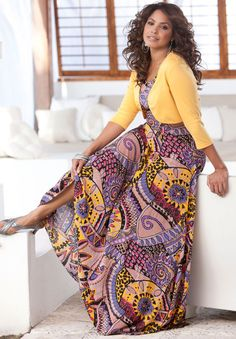 Plus Size A Line Crinkle Maxi Dress image - love the pattern on this dress and the yellow shrug just sets it off!