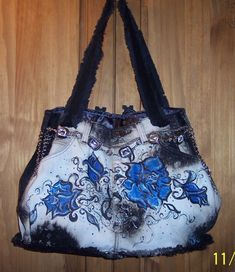 I like the Bleach and paint look on this bag...could be applied on most anything denim.