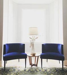 Twin Chloe chairs in velvet indigo