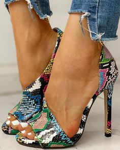 Colorblock Snakeskin Open Toe Thin Heeled Sandals – Shoes World High Heels Boots, Open Toe High Heels, High Heels Stilettos, High Shoes, Platform Stilettos, Pink Pumps, White Pumps, Stiletto Pumps, Peep Toe